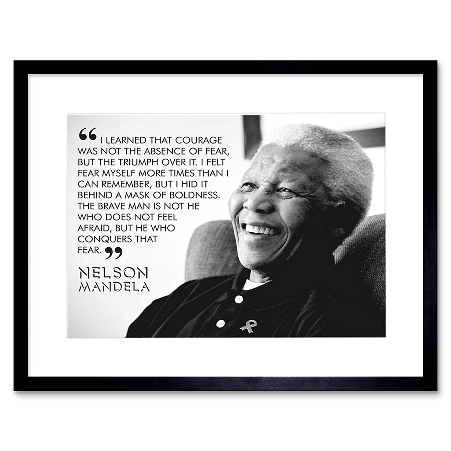 Wee blue coo i learned that courage nelson mandela bw typography quote framed wall art print amazon co uk kitchen home