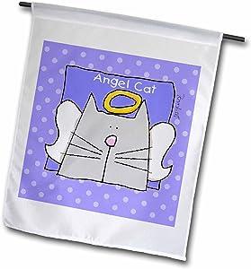 3dRose Angel Gray Cat Cute Cartoon Pet Loss Memorial - Garden Flag, 12 by 18
