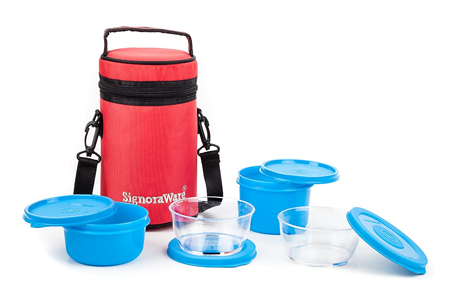 Signoraware Signature Lunch Box with Bag, Blue