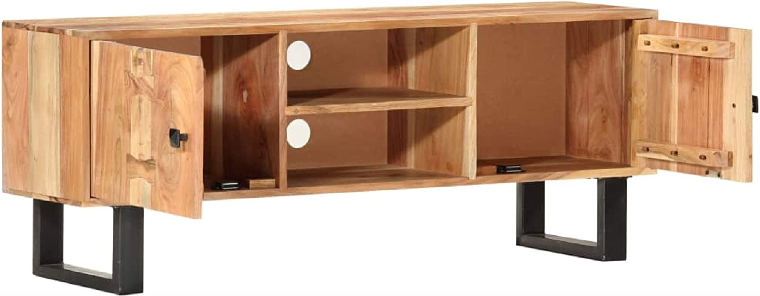 TV Cabinet 46.5x11.8x17.7 Solid Acacia Wood Entertainment Center /& TV Stand