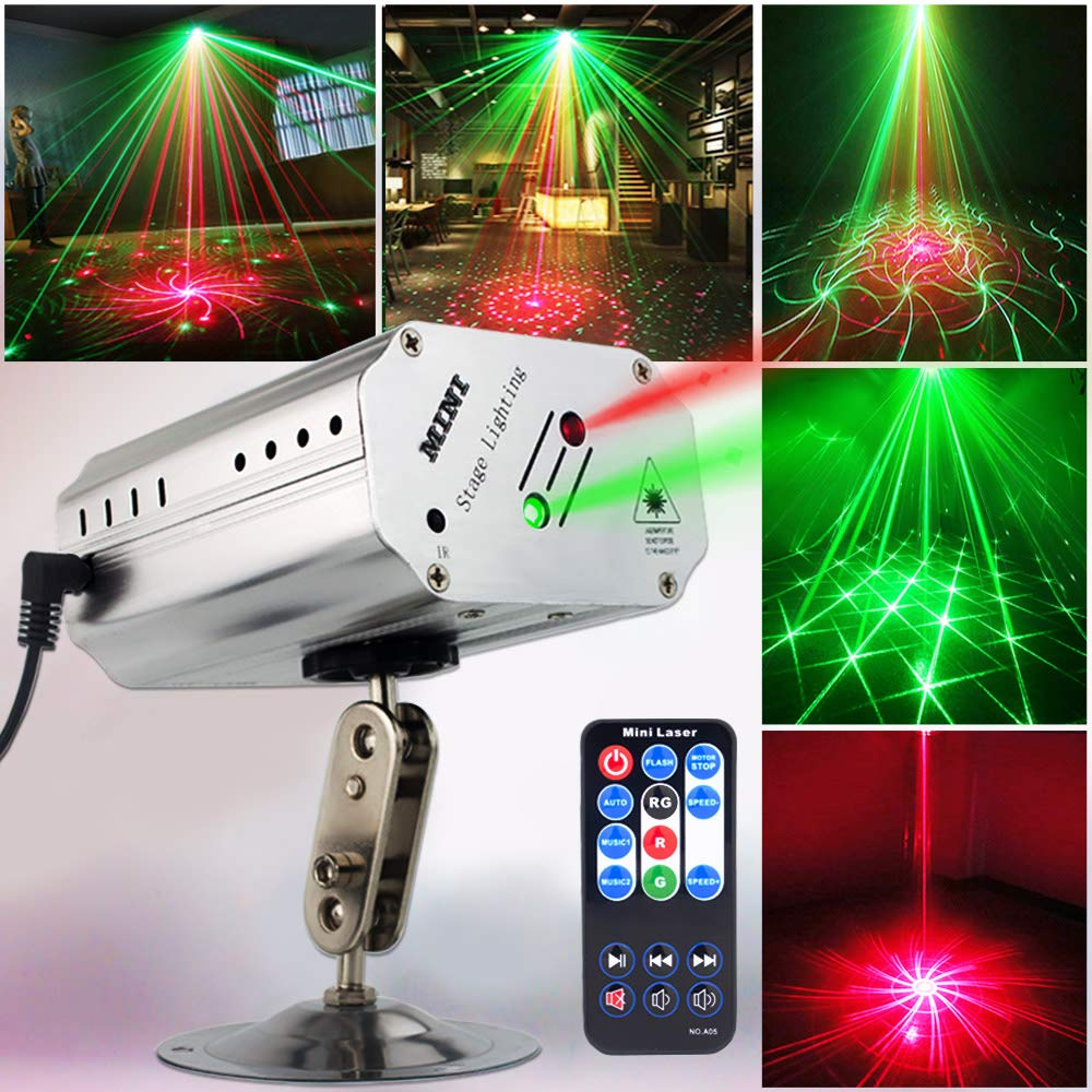 Party Lights Disco Lights DJ Lights, GOOLIGHT Sound Activated Strobe Light Projector Stage Light Effects with Remote Control for Home Room Dance Parties Birthday Bar KTV Karaoke Xmas Holiday Club Pub by SPOOBOOLA