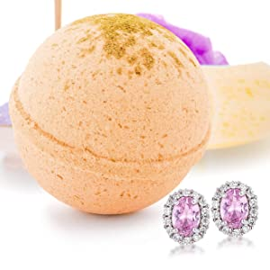 Bath Bomb Deluxe 8oz. And Surprise Jewelry Made in USA, Perfect for Bubble Spa Bath. Handmade Birthday Mothers Day Gifts For Women & Kids (Spiced Apple Cider, Earring)