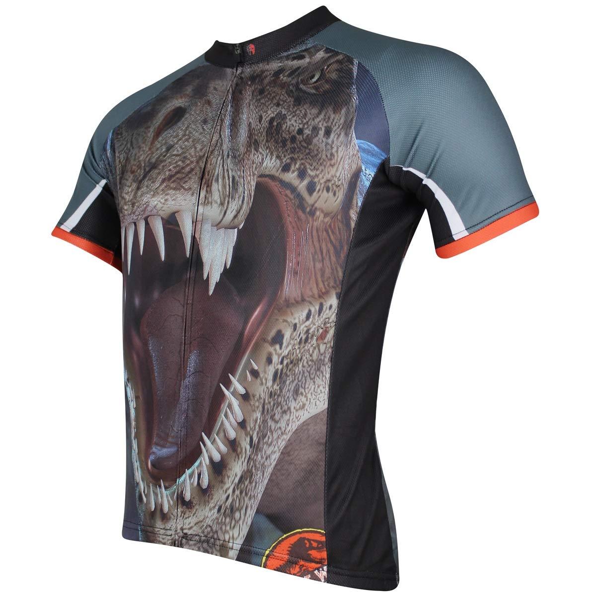 Fahrrad Reitanzug Sommer Gut aussehende Dinosaurier Muster Herren Jersey Leichte Quick Dry Bike Jersey Fahrradtrikot LPLHJD