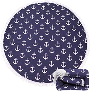 Genovega Thick Round Beach Towel Blanket – Navy Anchor Large Microfiber Terry Beach Roundie Circle Picnic Carpet Yoga Mat with Tassel for Men Two