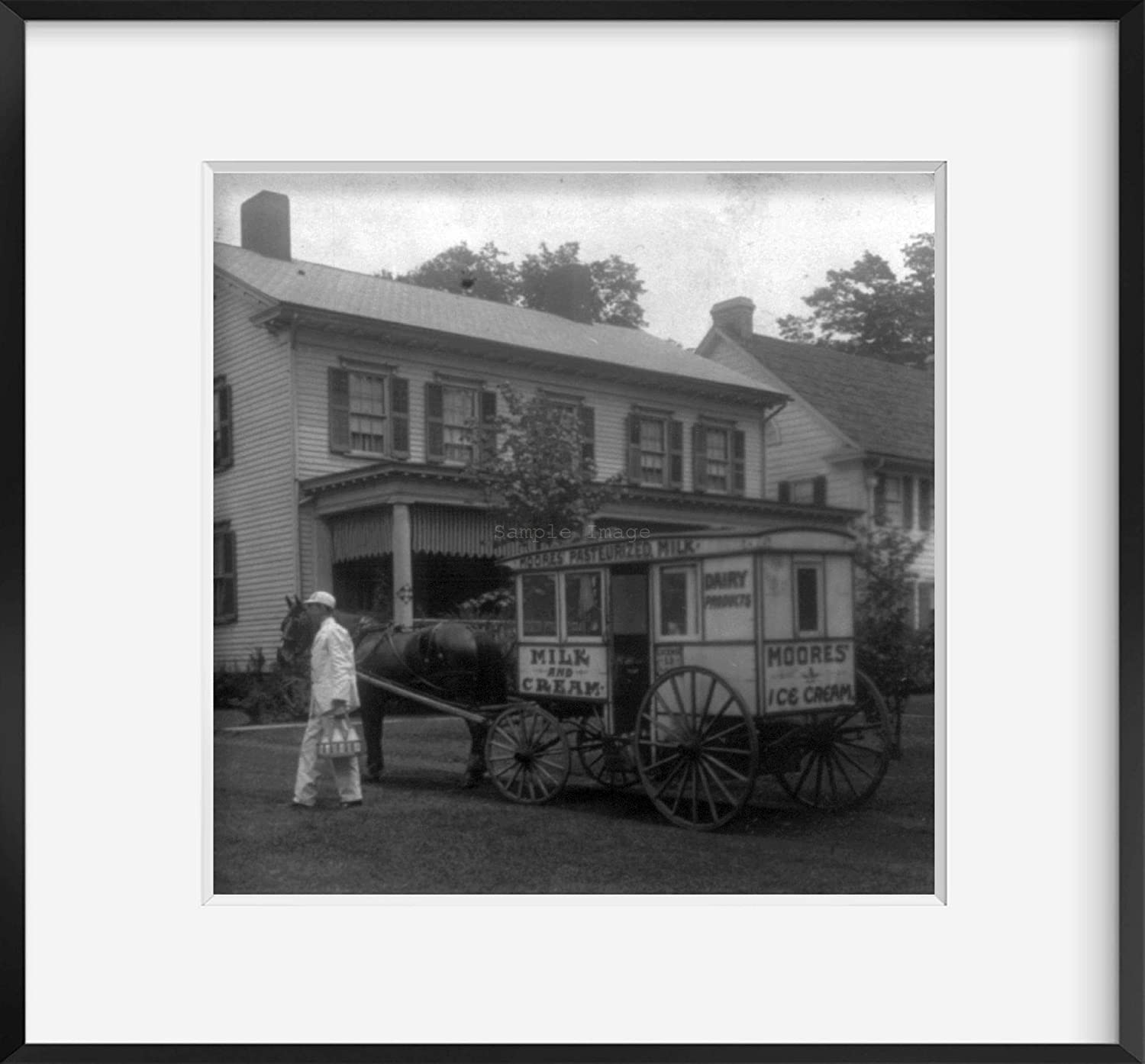INFINITE PHOTOGRAPHS 1925 Photo Delivering Milk to City Homes Milkman Carrying Milk from Horse-Drawn Wagon of Moores Dairy Products in Front of House.
