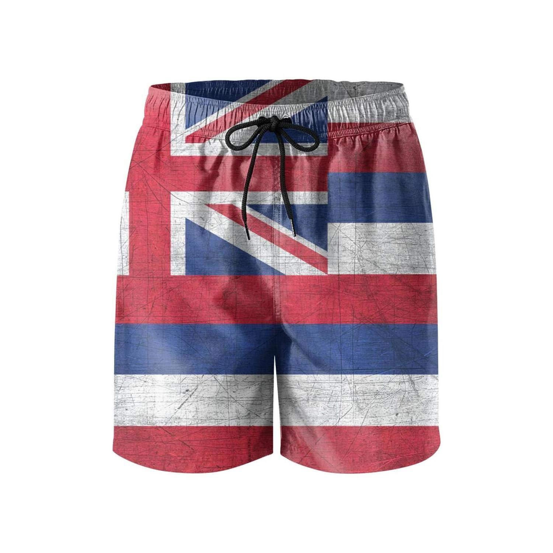 LHSKH Hawaii Flag Swim Trunks Men Elastic Waist Mens Board Shorts,Athletic Mens Swim Shorts