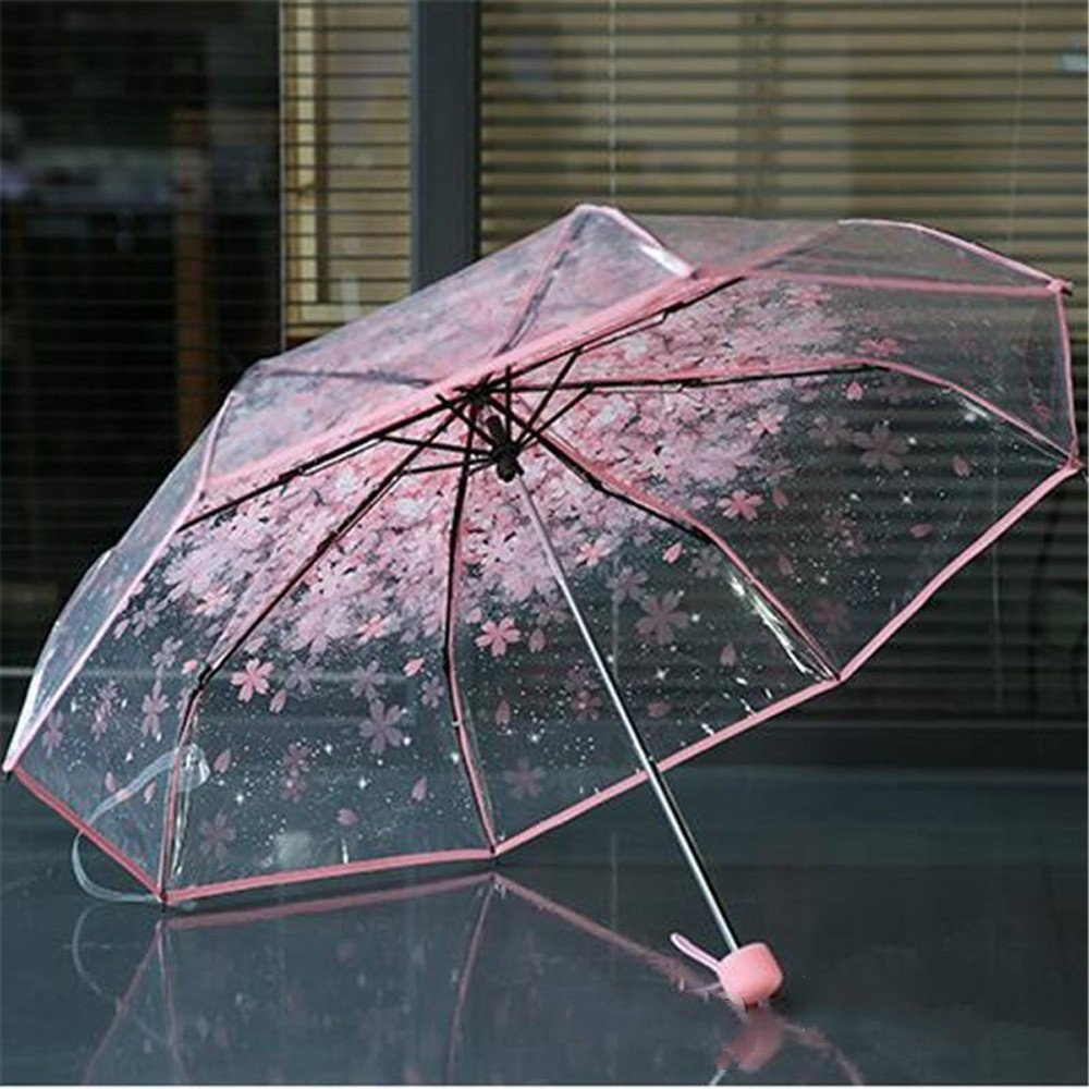 1pc Three Fold Umbrella Women Transparent Clear Cherry Blossom Mushroom Sakura Folding Sunshade Rain Umbrellas by Xiaolanwelc (Blue)