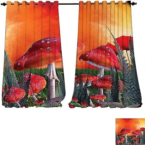 Cortina opaca térmica aislante seta pequeña casa de salón en jardín de flores arco iris y árboles frutales rayas circo tienda globos estampado Drape para puerta de cristal (W72 x L72