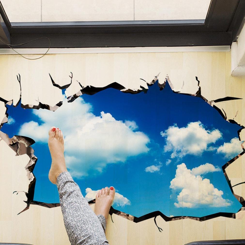 Indexp 3D Removable Bridge Sky Moon Beach Floor/Wall Sticker Vinyl Art Living Room Decors Decals (Planet)