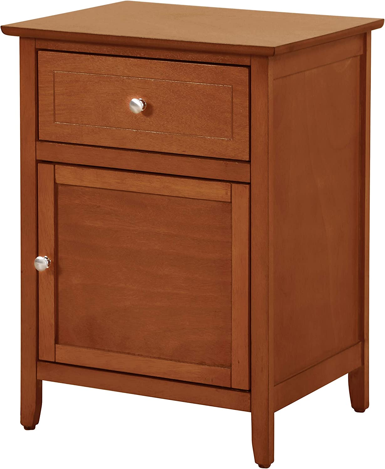 Glory Furniture 1 Drawer /1 Door Nightstand, Oak