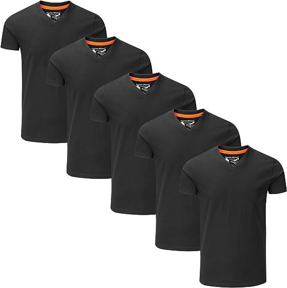Charles Wilson Paquete 5 Camisetas Cuello Pico Lisas: Amazon.es ...