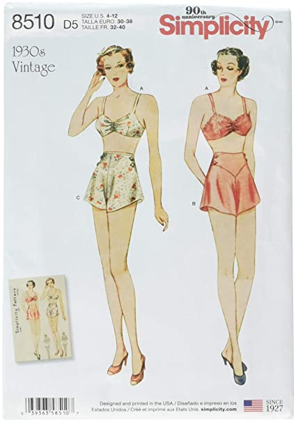 Amazon.com  Simplicity Pattern 8510 D5 Misses  Vintage Brassiere and ... a53db82e5