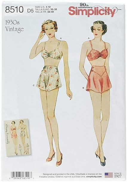 83d4e5c117296 Amazon.com: Simplicity Pattern 8510 D5 Misses' Vintage Brassiere and ...