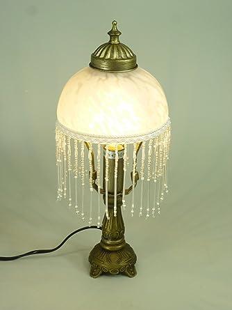 LED Tischleuchte Landhausstil Weide Messing Antik Glasschirm Inklusive Leuchtmittel E14 2Watt Lampe