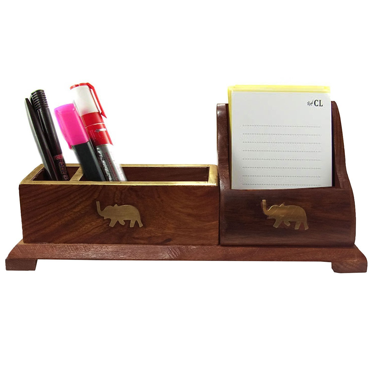 Handmade 3 Compartment Classic Brown Wood Desktop Office Supply Caddy / Pen Holder / Mail Holder / Desk Organizer, Easter Day / Mother day / Good Friday Present