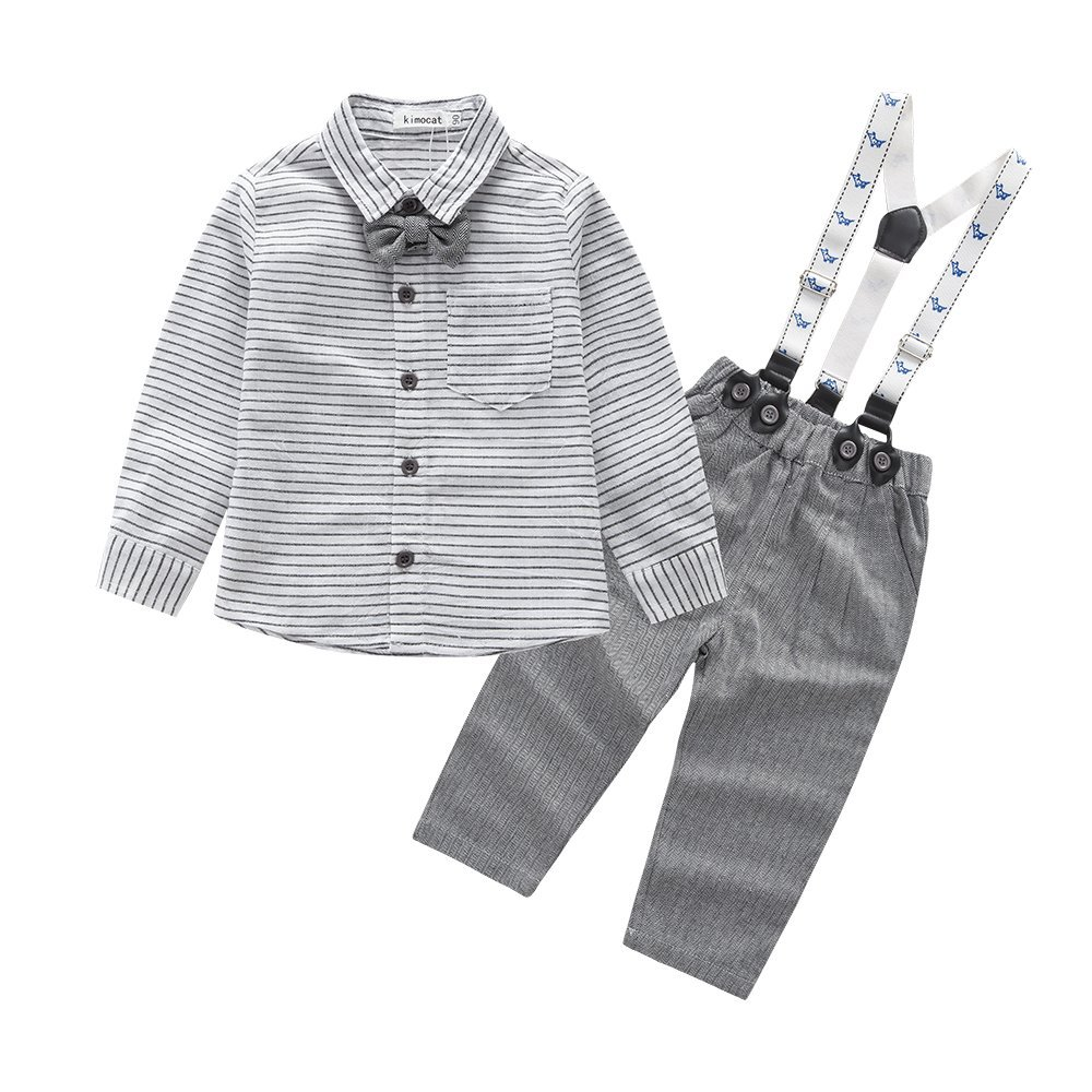 Kimocat Baby Boy Shirt and Tie Sets Long Sleeve Woven Top+ Bowknot+ Pants With Suspender Straps Outfits