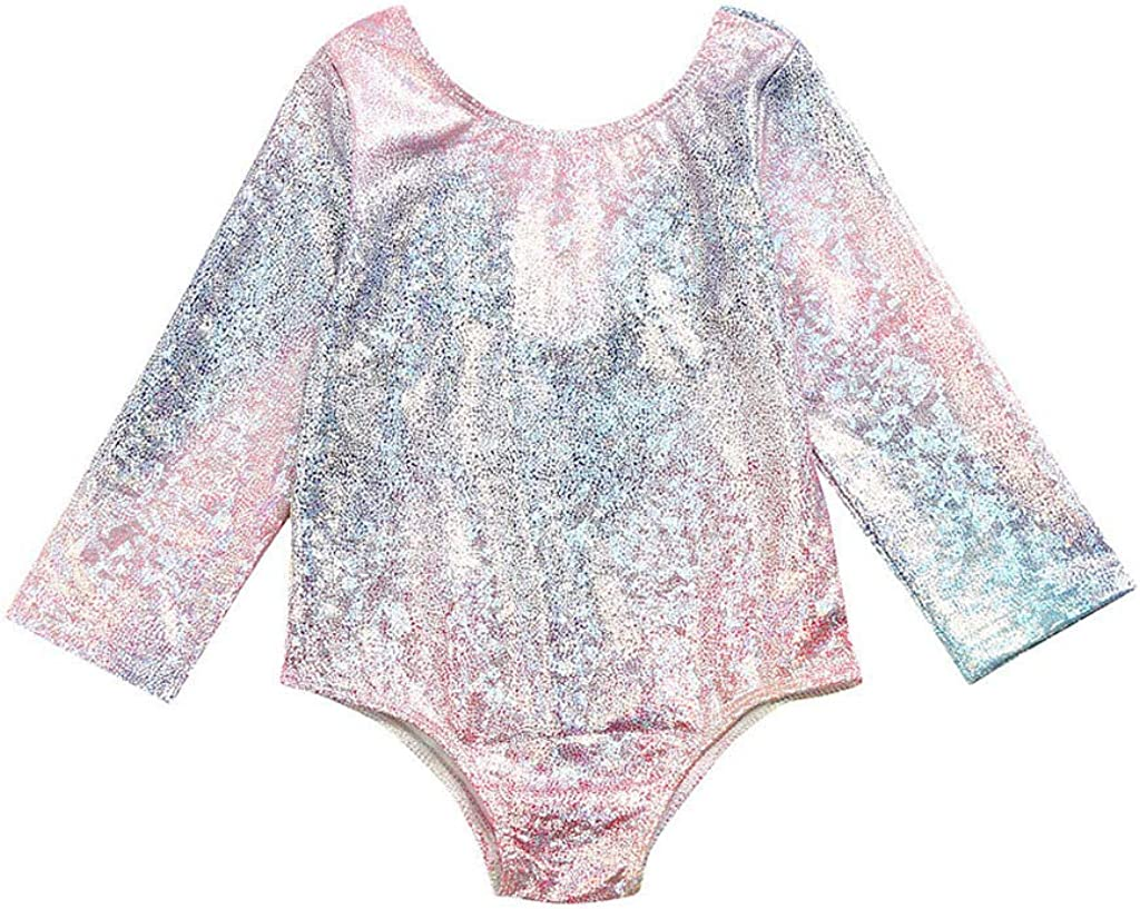 Newmao Toddler Girls Swimsuit Long Sleeve Gradient Color Swimwear Princess Beach Bikini