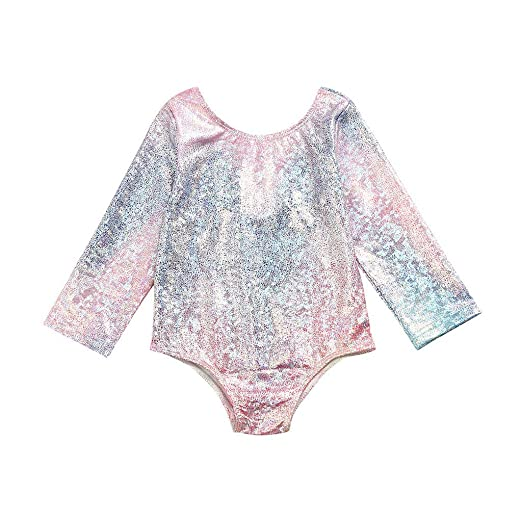 5f152523727 Amazon.com  KONFA Baby Toddler Girls Swimwear One Piece Swimsuit Long  Sleeve Bathing Suit Romper Rash Guard Cover Up  Clothing