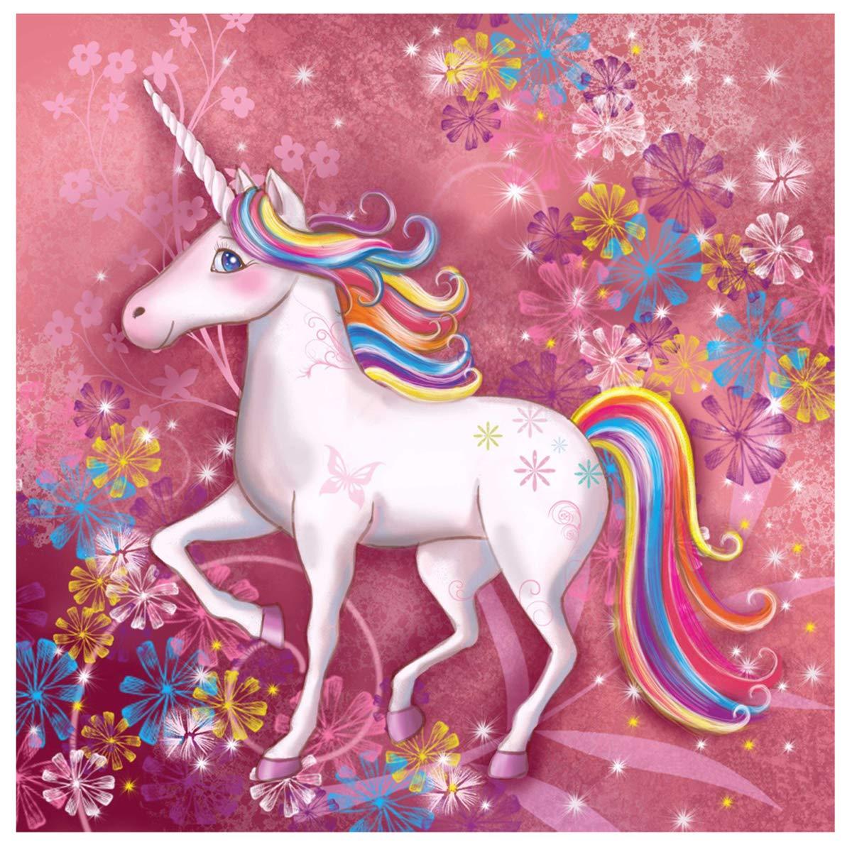 Set per dipingere con Diamanti e Arcobaleno a Forma di Unicorno Sunnay 30 x 40 cm