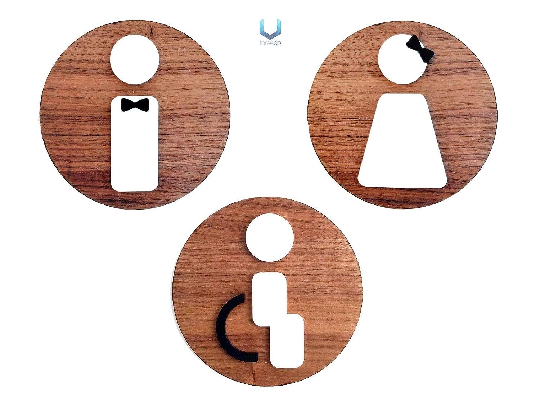 Signs | 3 x Bagno Restroom Toilette - Uomo, Donna, Disabili - Targhette e pittogrammi per porte, locali, uffici, personalizzabili, targa in legno a rilievo 3DP