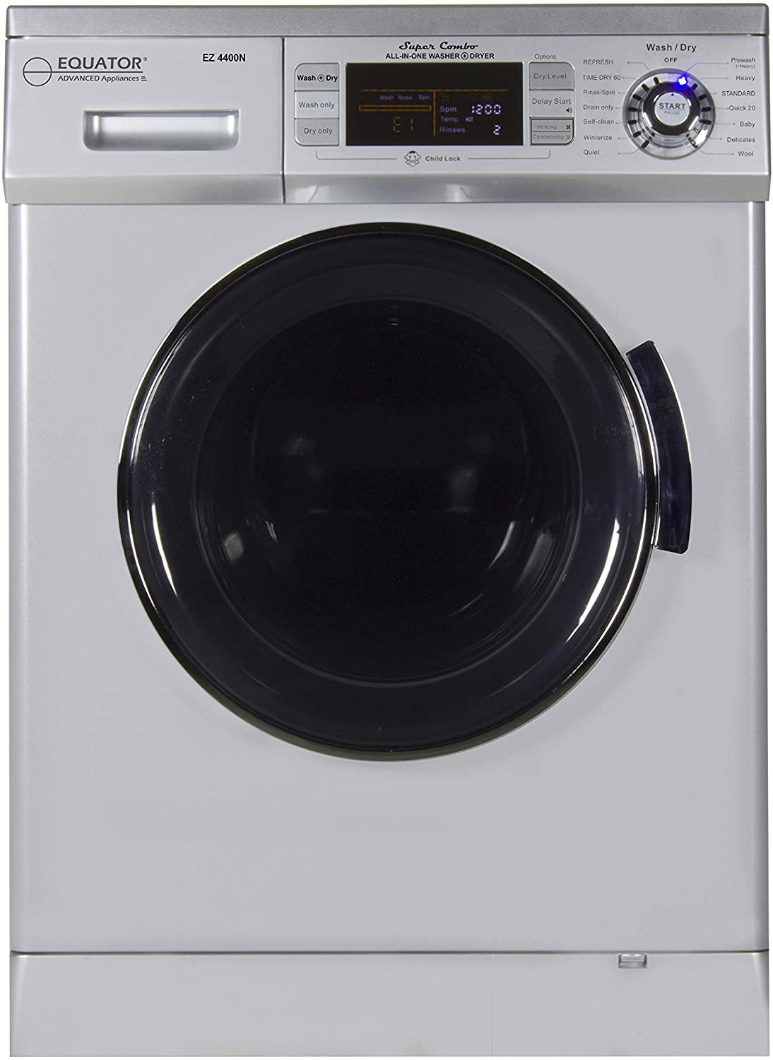 "Equator 2019 24"" Combo Washer Dryer Silver Winterize+Quiet"