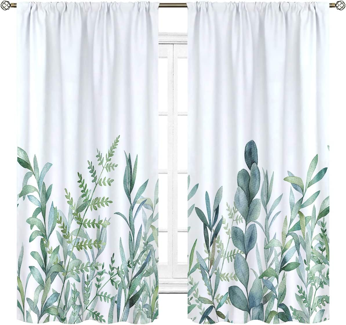 Cinbloo Green Leaves Curtains Rod Pocket 42 W x 63 L Inch Nature Plant Spring Rustic Botanical Branch Floral Herbs Art Printed Living Room Bedroom Window Drapes Treatment Fabric 2 Panels