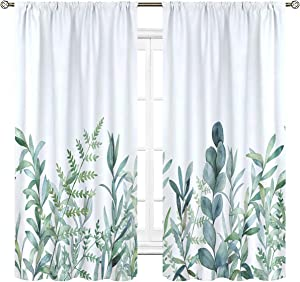 Cinbloo Green Leaves Curtains Rod Pocket 42 (W) x 63(L) Inch Nature Plant Spring Rustic Botanical Branch Floral Herbs Art Printed Living Room Bedroom Window Drapes Treatment Fabric 2 Panels