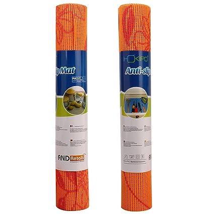 HOKIPO Plastic Flower Pattern Shelf Liner for Cupboards (30 x 150 cm, Orange) - 2 Piece Set