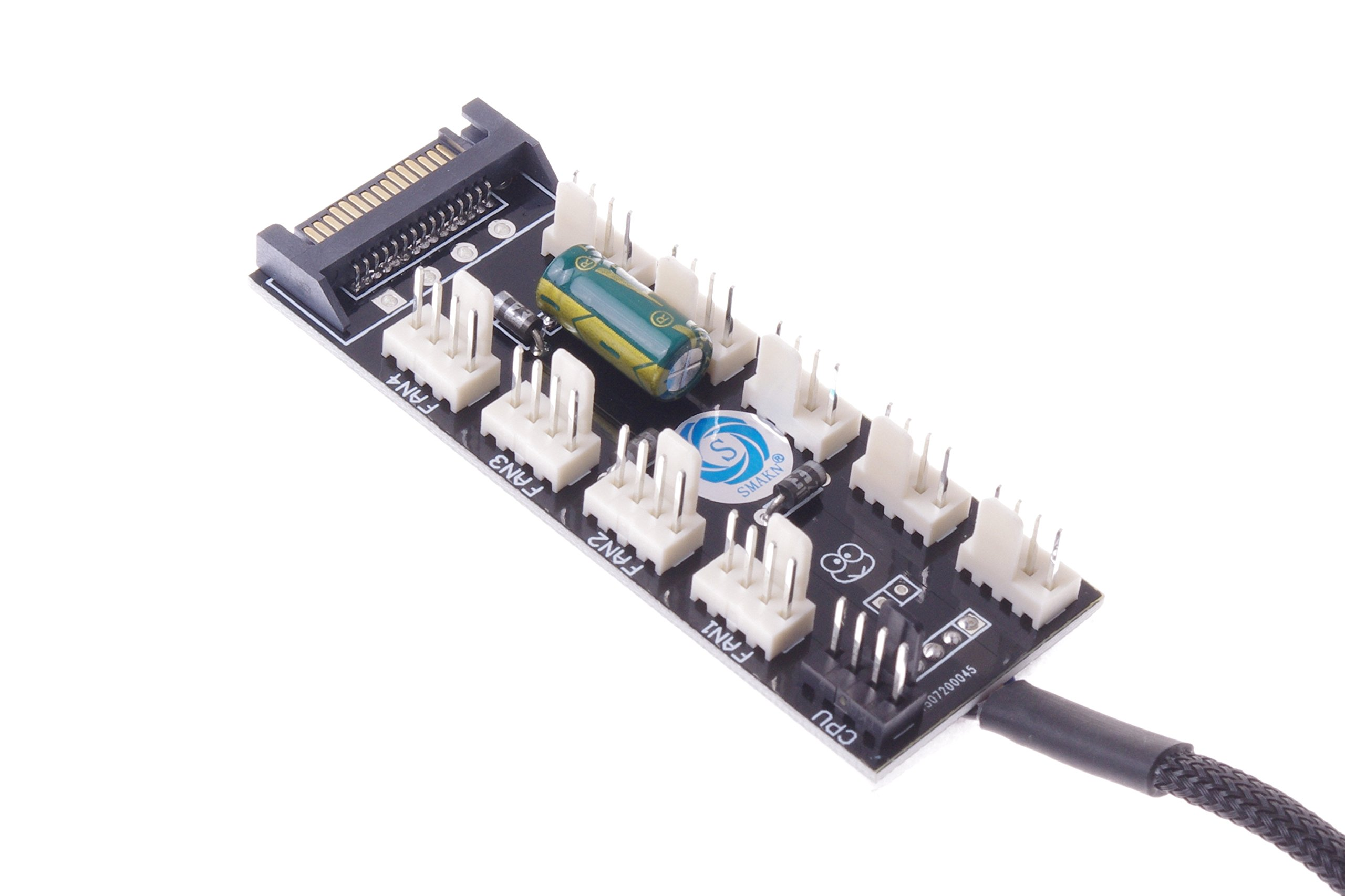 SMAKNÂ PC FAN HUB temperature-controlled supports 10 Ports 12V 3pin/4pin Fan Cable SATA-port Power by SMAKN (Image #6)