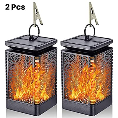 Solar Lantern Lights Real Dancing Flame Waterproof Outdoor Hanging LED Lamp Dusk to Dawn Auto on/Off Night Light for Garden, Patio, Yard Decor, Pathway, Camping, Landscape (2Pack)