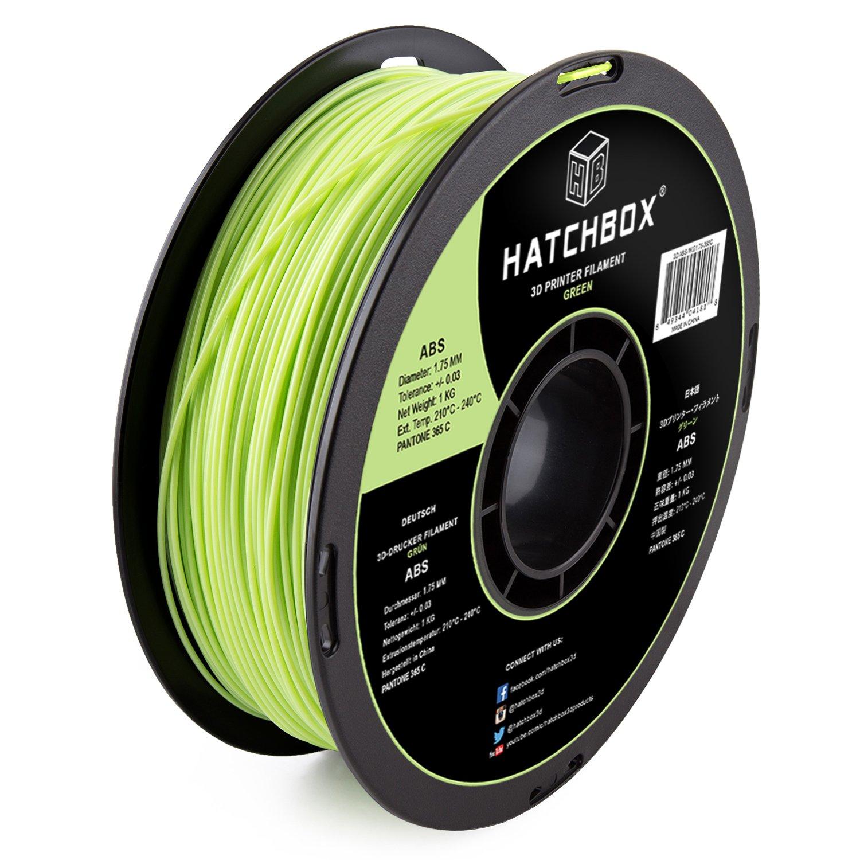HATCHBOX 3D ABS-1KG1.75-365C ABS 3D Printer Filament, Dimensional Accuracy +/- 0.05 mm, 1 kg Spool, 1.75 mm, Green