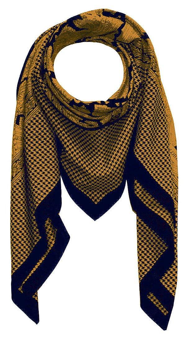 Lorenzo Cana Herrentuch quadratisches XL Luxus Tuch Baumwolle kombiniert mit Seide 110 x 110 cm Naturfaser Marken Schaltuch Halstuch Hahnentritt Paisley