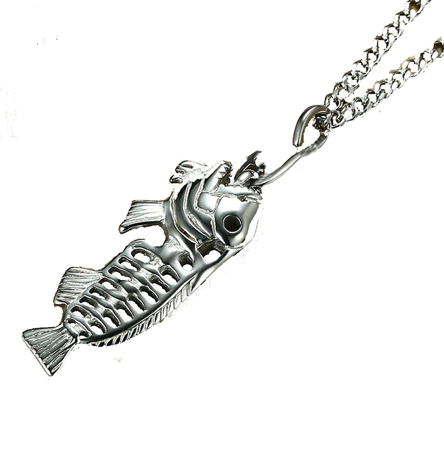 Gnzoe Stainless Steel For Men//Women Pendant Necklace Fish Bone Skeleton with Chain