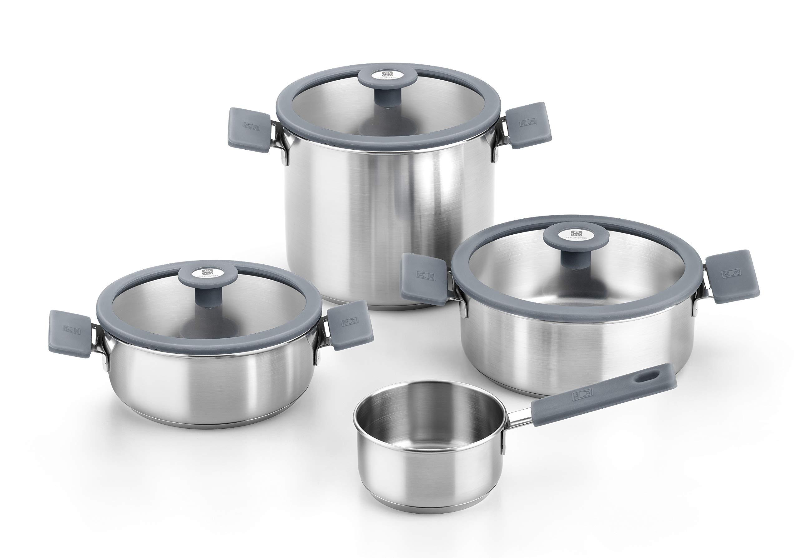 Bra Color Steel - Batería de cocina 4 piezas de acero inoxidable,apta para todo
