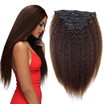 Amazon Com Super Long Kinky Straight Hair Extensions Clip Ins 24 Inch 180g Yaki Kinky Straight Real Human Hair Brown Color Thick Long For Full Head 180g 24 Brown Beauty