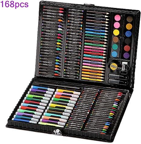 Juego de dibujo y pintura de 168 piezas de lujo para artistas, en estuche portátil, suministros