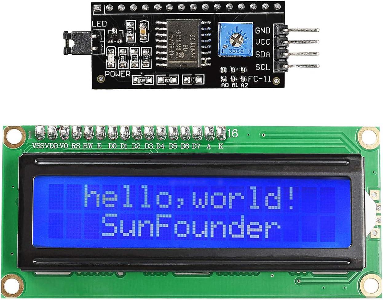 IIC//I2C//TWI//SPI Serial Interface 1602 16X2 Character Blue Lcd Module Display rx