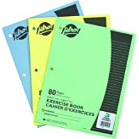 Hilroy Stitched Exercise Book, 3 Hole Punched, 3 Pack, 80 Pages, Assorted Color Covers