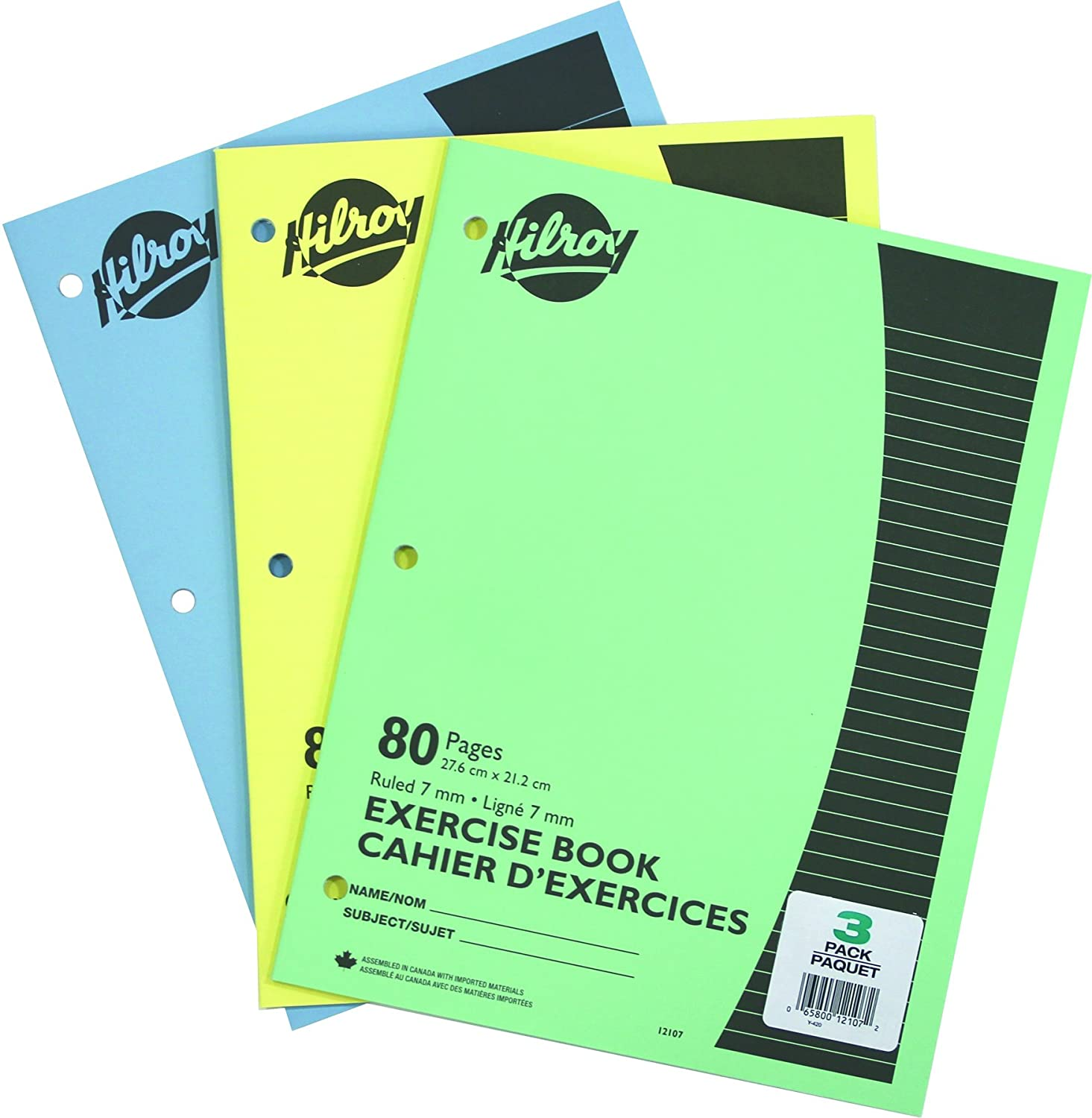 Hilroy Stitched Exercise Book, 3 Hole Punched, 4 Pack, 40 Pages, Assorted Color Covers 12102