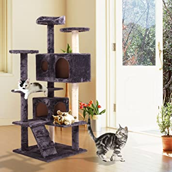 JAXPETY 52u0026quot; Indoor Cat Tree/Tower Cat Scratching Post Activity Centre Cats  House With