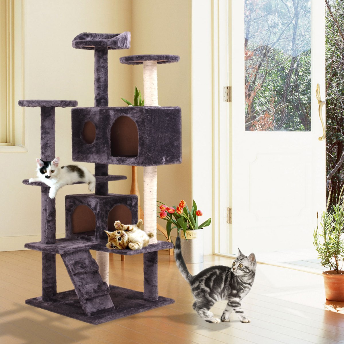 JAXPETY 52'' Indoor Cat Tree/Tower Cat Scratching Post Activity Centre Cats House with Bed Gray