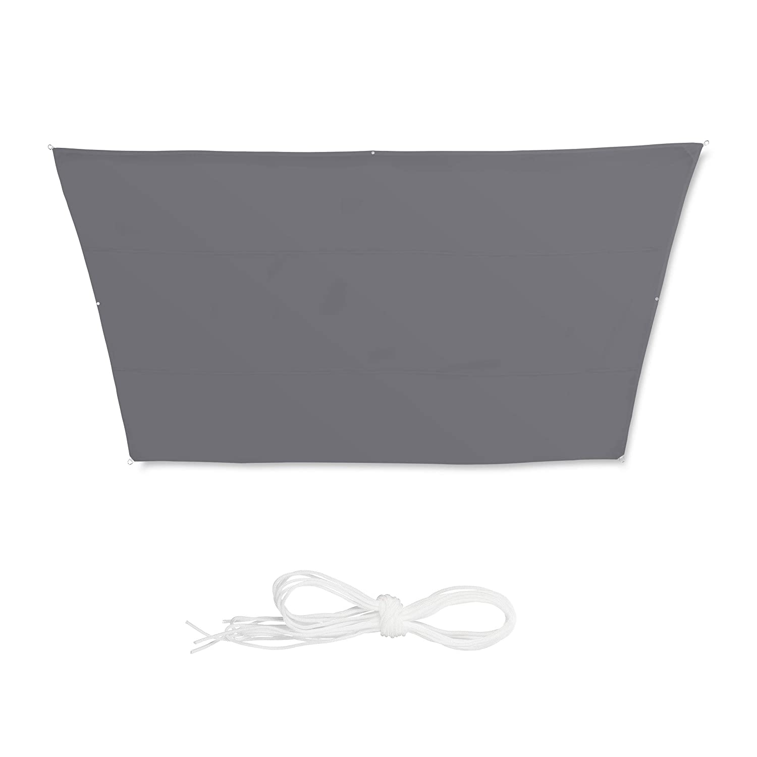 Balcony Awning 3x4x2x2m Trapeze UV-Protection with Tethers Water-Repellent 3 x 4 x 2 x 2 m Grey Relaxdays Shade Sail