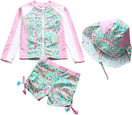 Sun Hat for Girls Toddler Baby Girl Floral Swimsuit Rash Guard Long Sleeve Sunsuit One Piece Swimwear