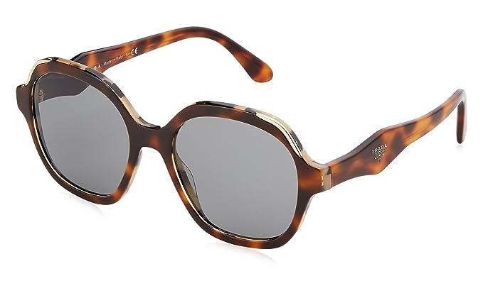 Prada Damen Sonnenbrille 0PR06US TH89K1, Weiß (Havana/White Havana/Grey), 52