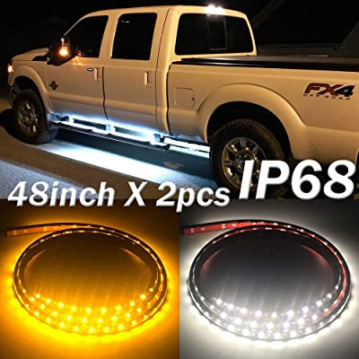 Fuguang [2PC-48inch] IP68 LED Board Running Light Truck Side Marker Flexible Step Strip Lights White & Amber Turn Signal Combo Kit (IP68): Automotive
