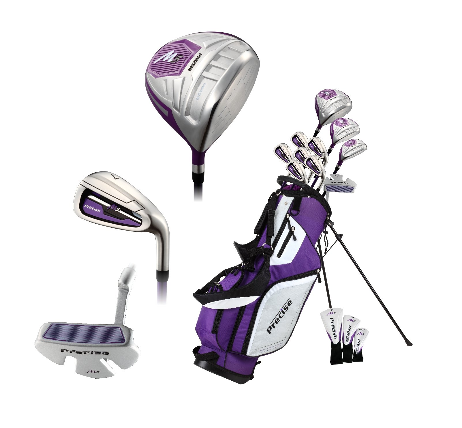 Precise M5 Ladies Womens Complete Right Handed Golf Clubs Set Includes Titanium Driver, S.S. Fairway, S.S. Hybrid, S.S. 5-PW Irons, Putter, Stand Bag, 3 H/C's Purple (Right Hand Petite Size -1'') by PreciseGolf Co. (Image #9)