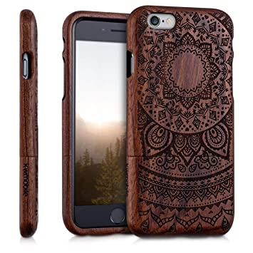 kwmobile Funda para Apple iPhone 6 / 6S - Carcasa de [Madera] para móvil - Case Trasero [Duro] con diseño de Sol hindú