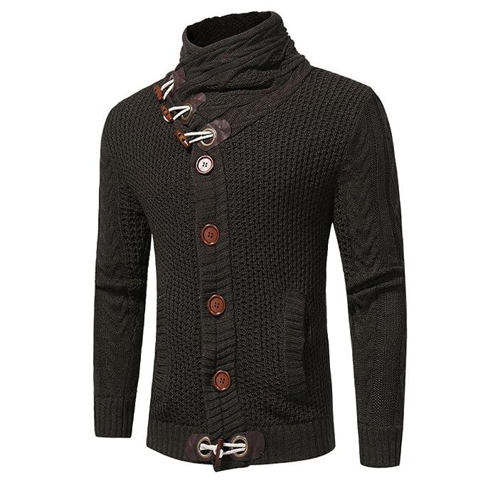 Suéter de hombre Camiseta koly Nueva Moda Men Otoño invierno Casual Cárdigan Botón Suéter Blusa Suéter de punto Abrigos Cardigan Chaqueta hombres tejer: ...