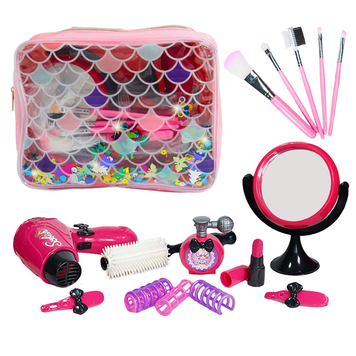 Echolife Girls Pretend Play Makeup Kit Beauty Salon Hair Styling Set with Hair Dryer, Lipsticks, Makeup Brushes Set, Mirror Beauty Accessories for Girl 3-7 Year Old
