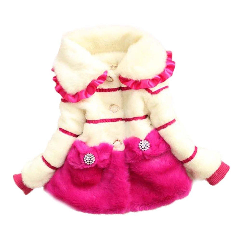 Baby Girls Kids Toddler Winter Long Sleeve Fur Outerwear Snowsuit Coat Jacket Rose)